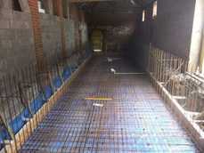 Steel reinforcing bars and shuttering all in place