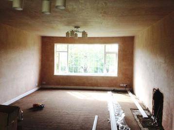 Plastered walls and ceiling