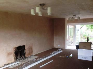 Plastered wall and ceiling