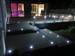 Raised composite decking with fitted lighting