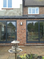 Aluminium doors on an extension