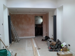 New walls, plasterboarded and skimmed